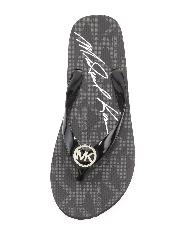 Lyst Michael Michael Kors Logo Signature Flip Flop In Black