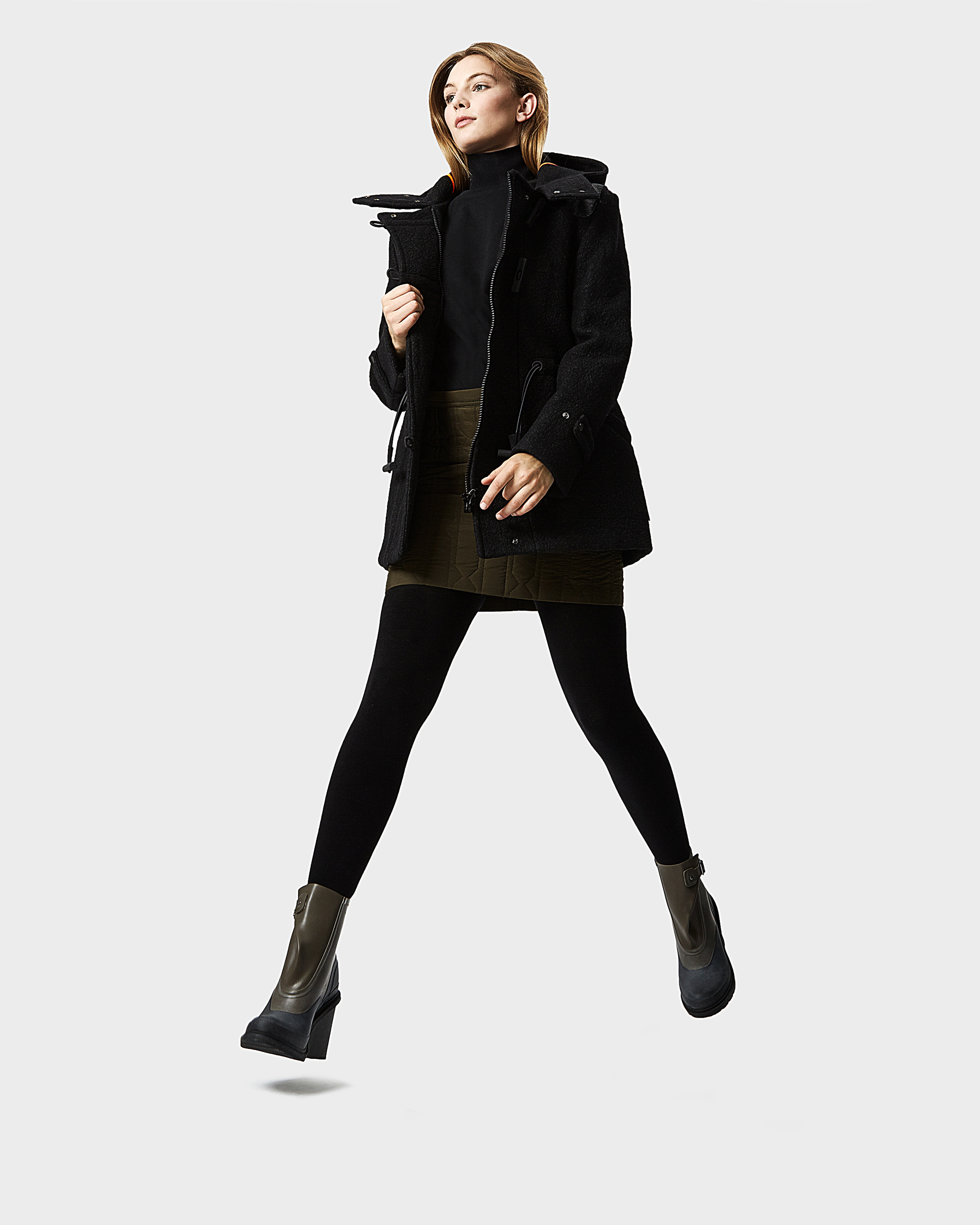Hunter Women's Original Wool Duffle Coat in Black | Lyst