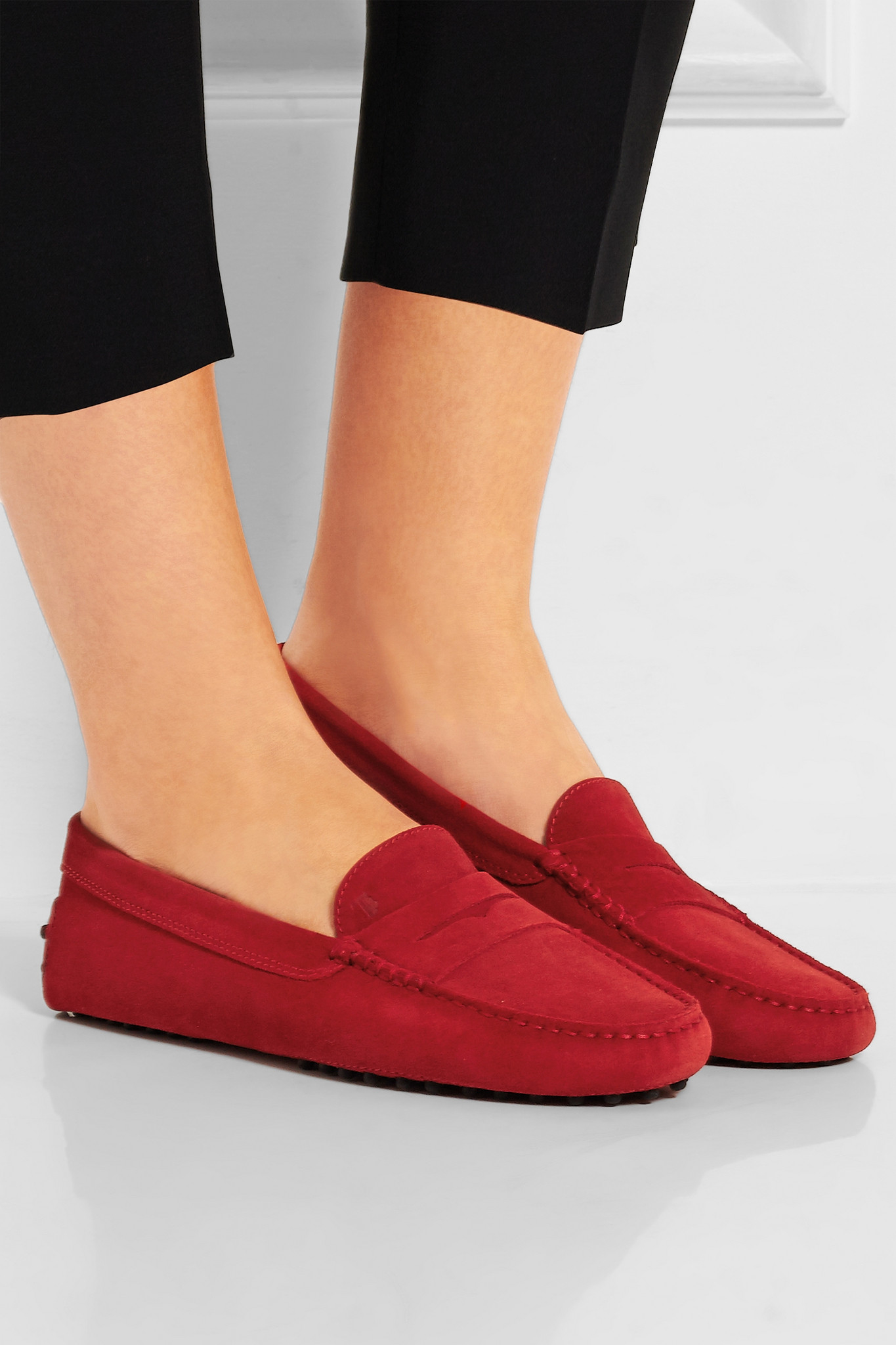 34e9cc1bbcf Lyst - Tod s Gommino Suede Loafers in Red