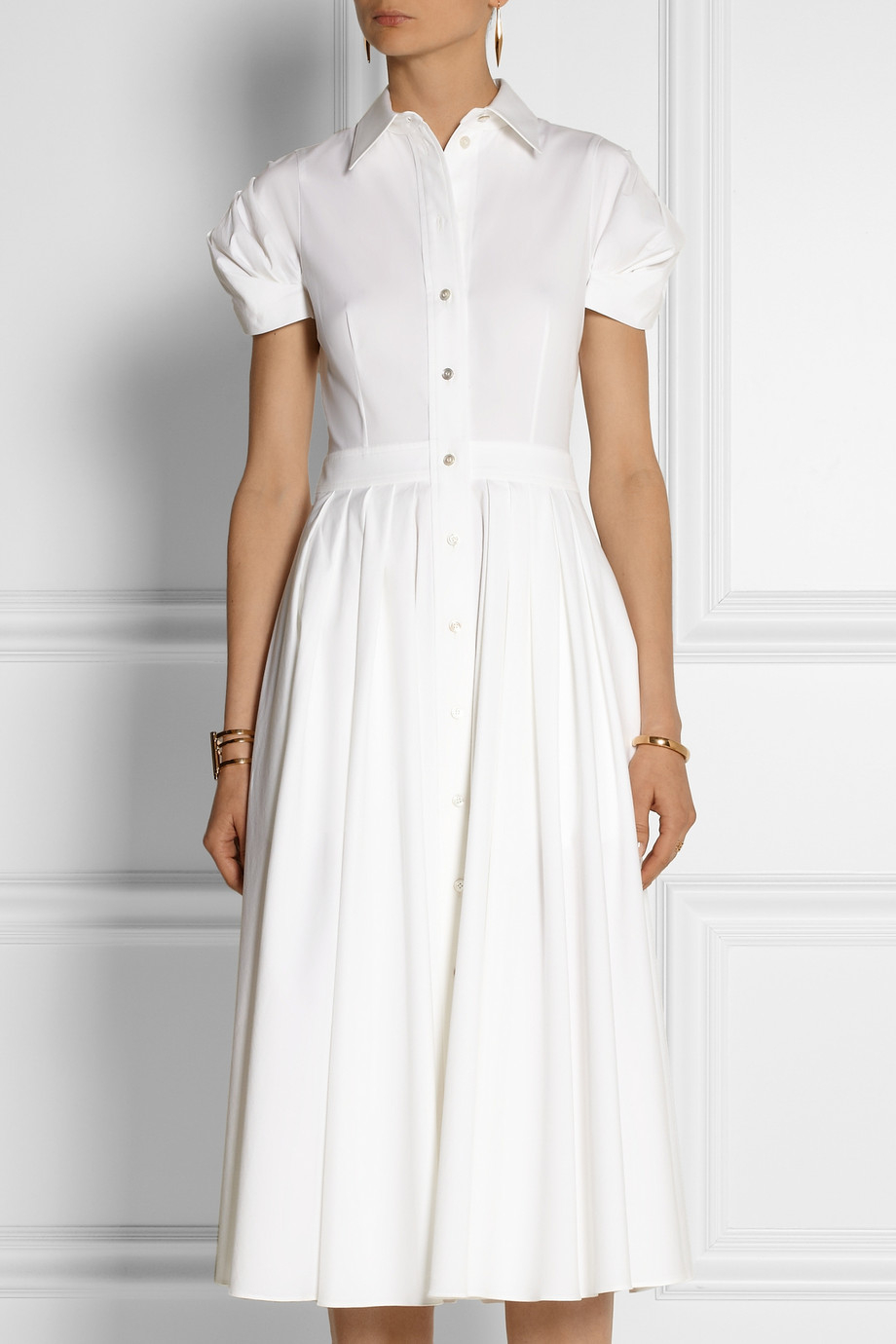 Lyst - Michael Kors Stretchcotton Poplin Midi Dress in White