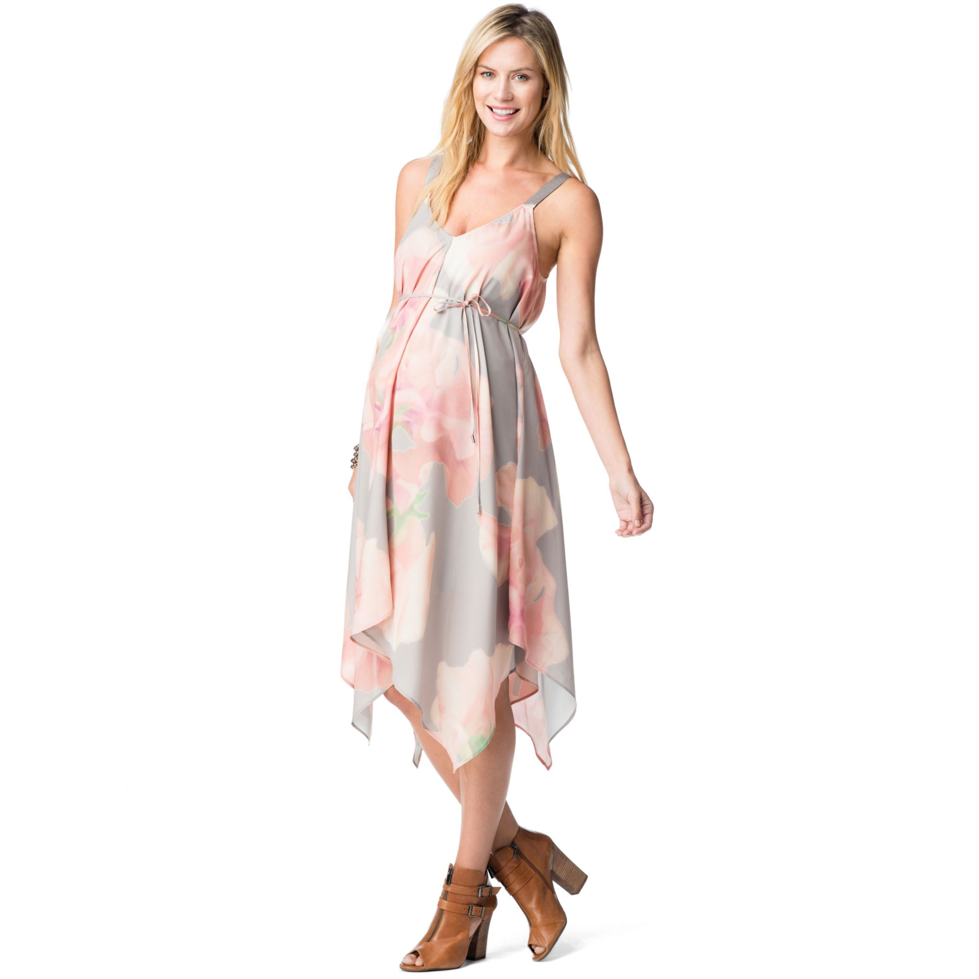 37640fe0798 Jessica Simpson Maternity Floralprint Handkerchiefhem Dress in Pink ...