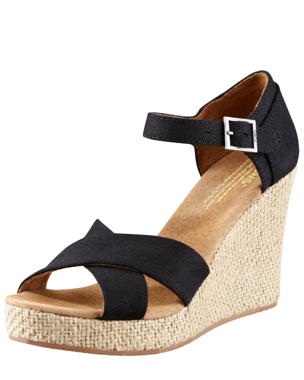 53963ed6121 Black Canvas Wedges Toms ~ Ladies Wedge Sandals
