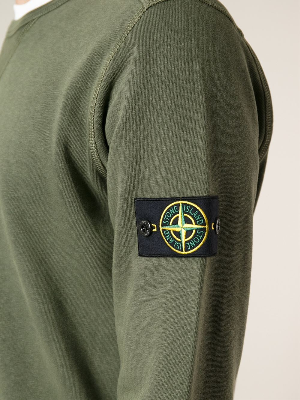 lyst stone island crew neck sweatshirt in green for men. Black Bedroom Furniture Sets. Home Design Ideas