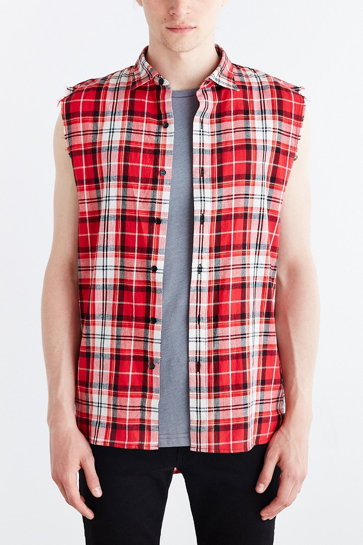 Kill City Sleeveless Flannel Button Down Shirt In Red For