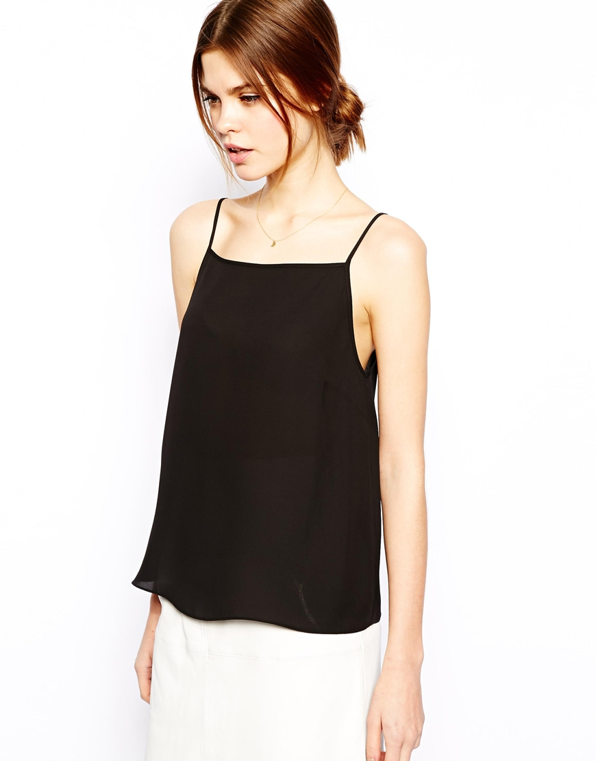 Asos High Neck Cami Top in Black | Lyst