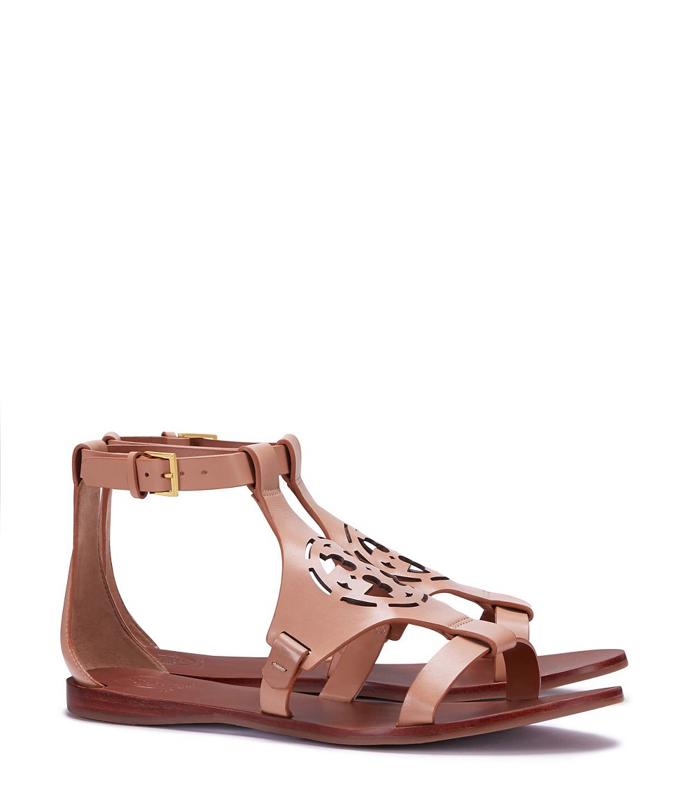 6fb122a1d88b ... low price lyst tory burch zoey leather sandals in brown 33e27 fb415