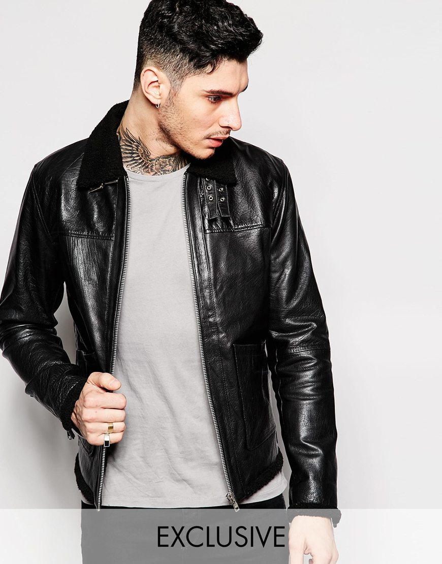 Lyst - Blackdust Leather Jacket With Faux Fur Collar in Black for Men