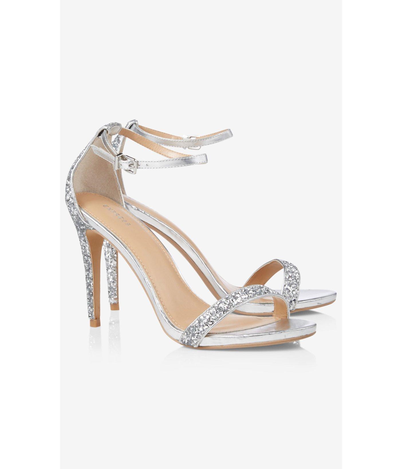 4c7c4368407 Lyst - Express Silver Glitter Sleek Heeled Sandal in Metallic