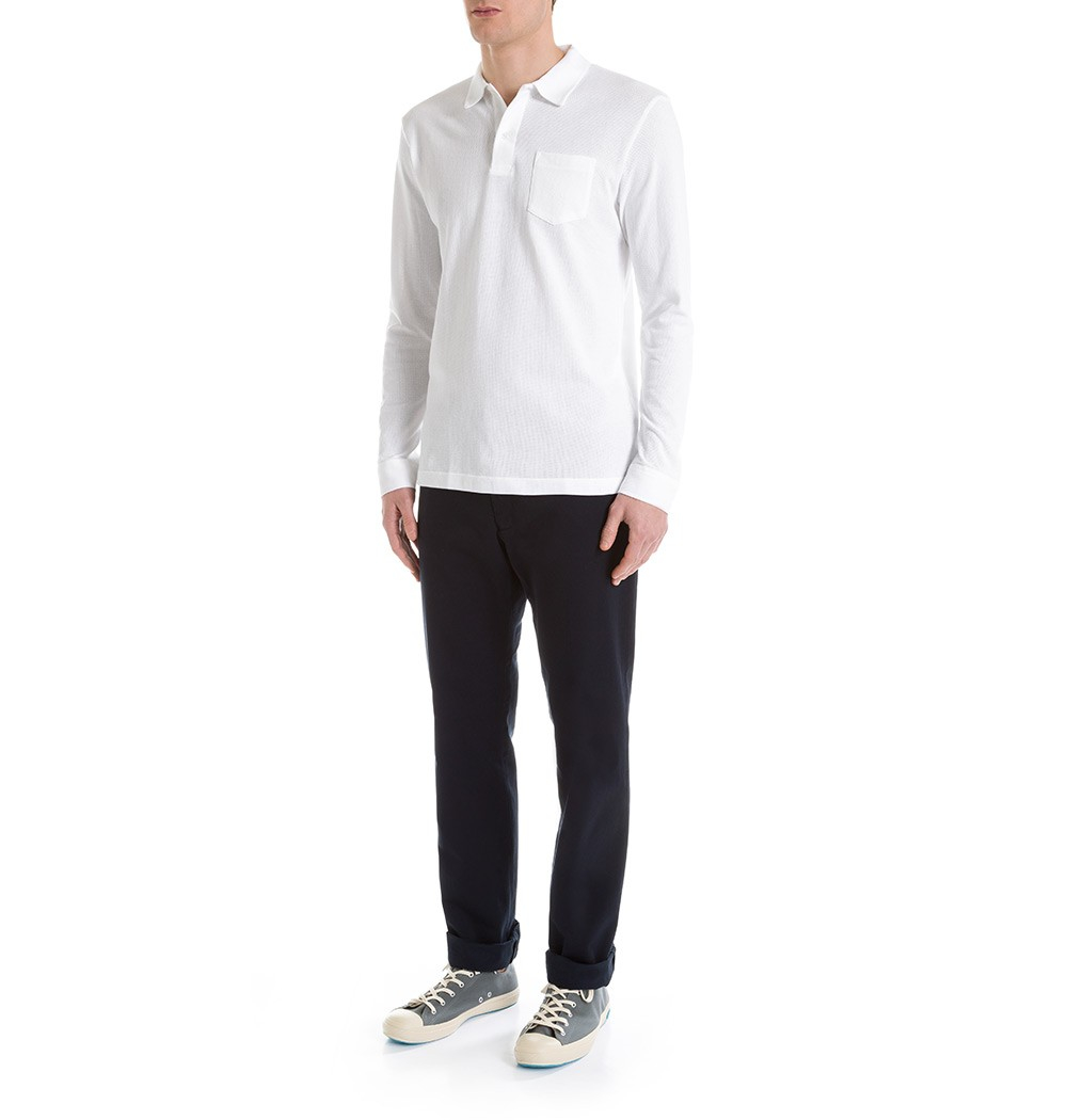 544b9e94d52a Sunspel Men's Combed Cotton Long Sleeve Riviera Polo Shirt in White for Men  - Lyst