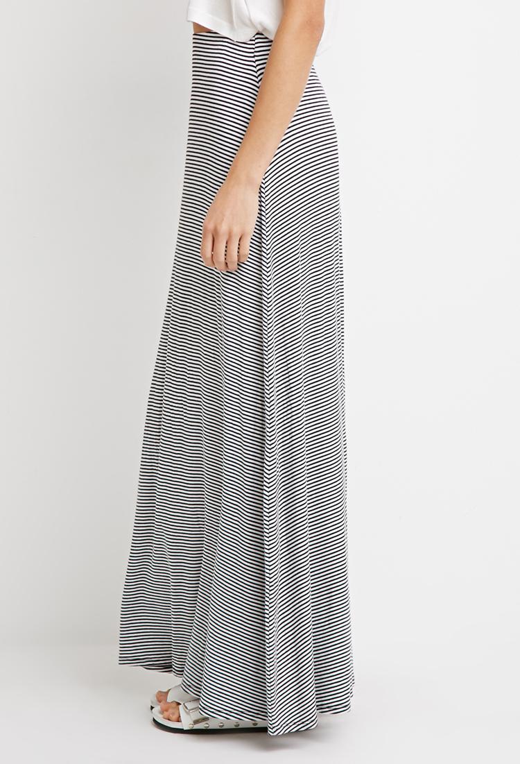 forever 21 stripe ribbed knit maxi skirt in black white