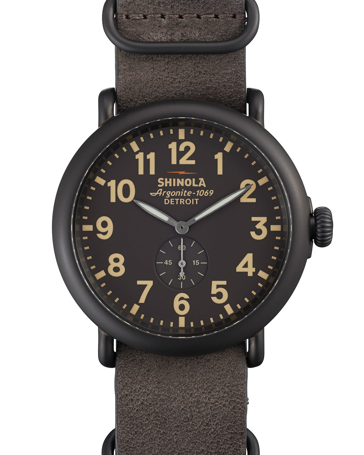 shinola 47mm runwell with leather in black lyst