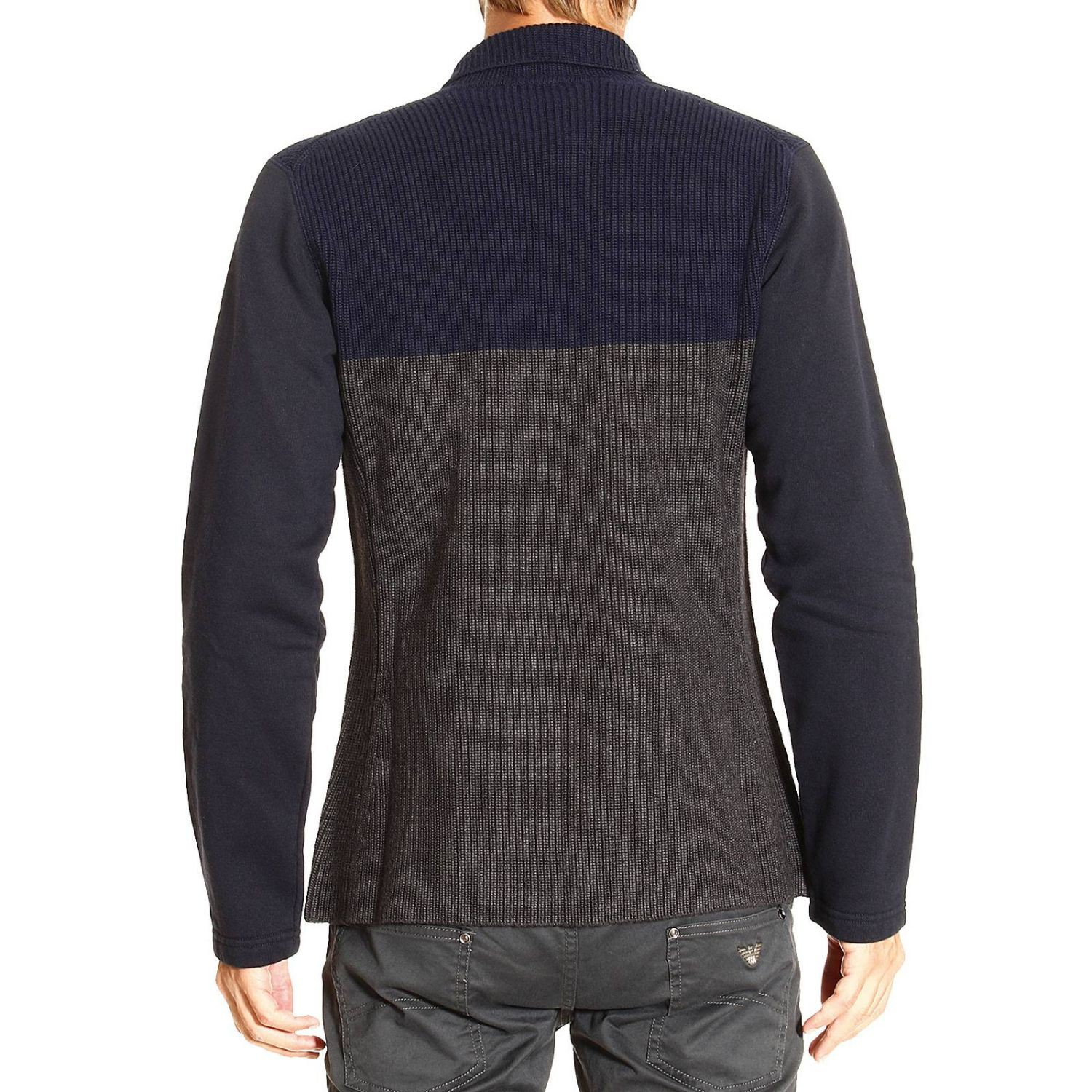 emporio armani sweater in gray for men grey lyst. Black Bedroom Furniture Sets. Home Design Ideas