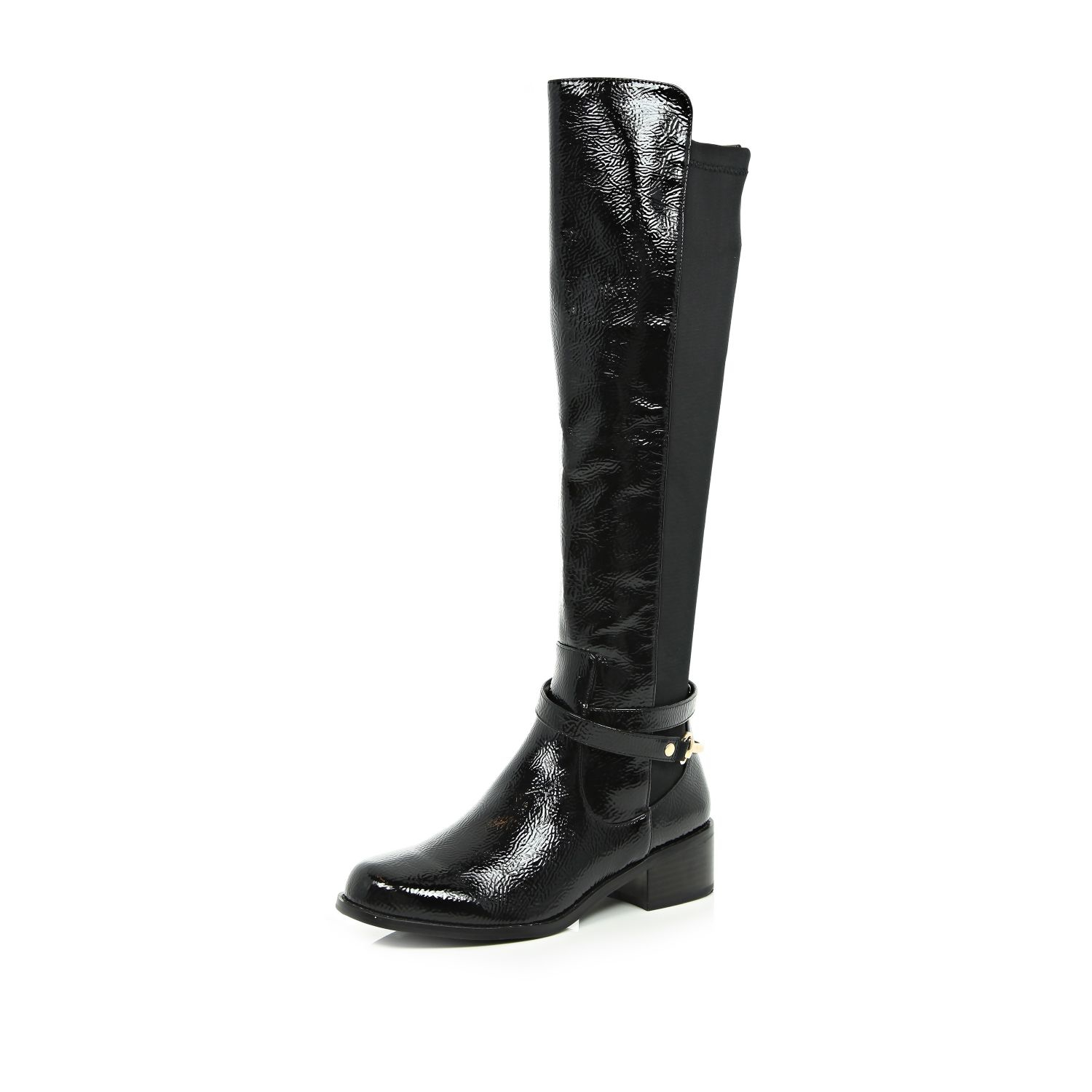 River island Black Patent Over The Knee Boots in Black | Lyst