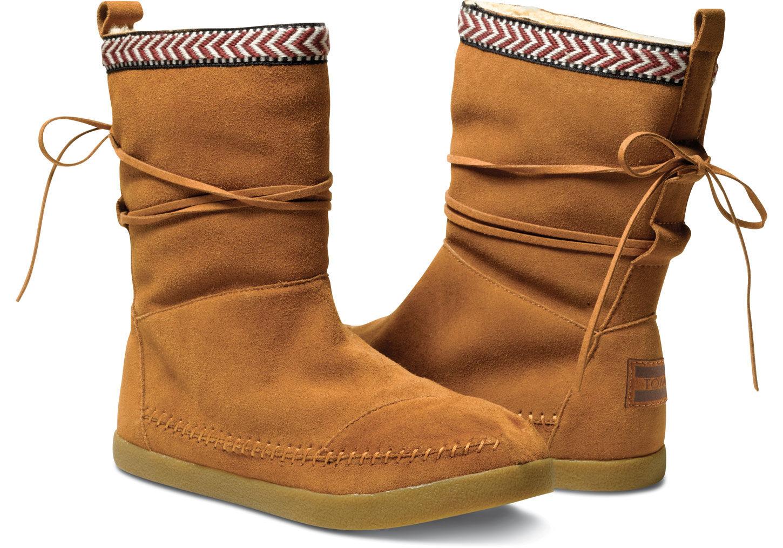 36e15e7fbc1 Lyst - TOMS Chestnut Suede Trim Women S Nepal Boots in Brown
