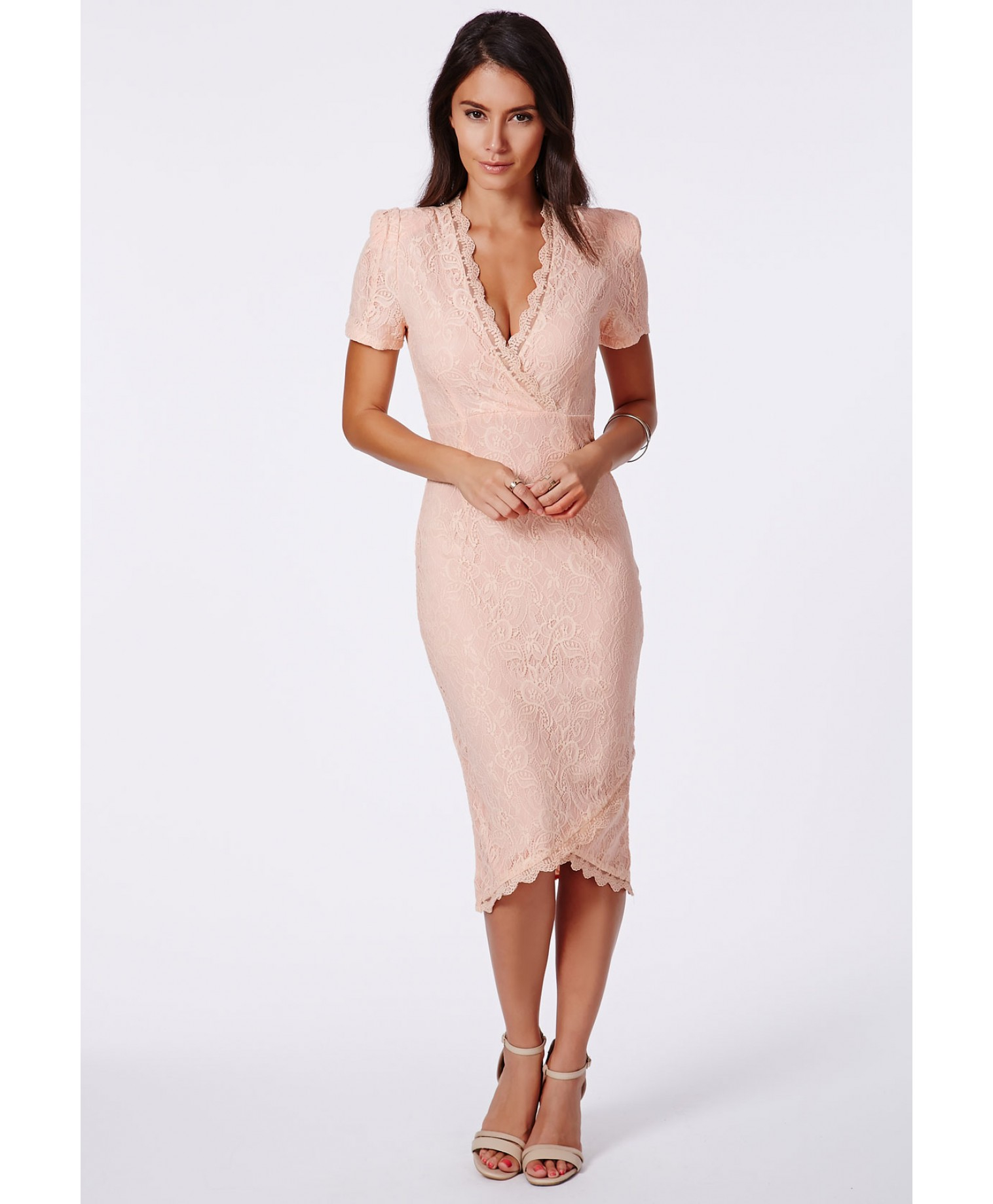 Missguided Madaline Lace Wrap Over Midi Dress in Pink | Lyst
