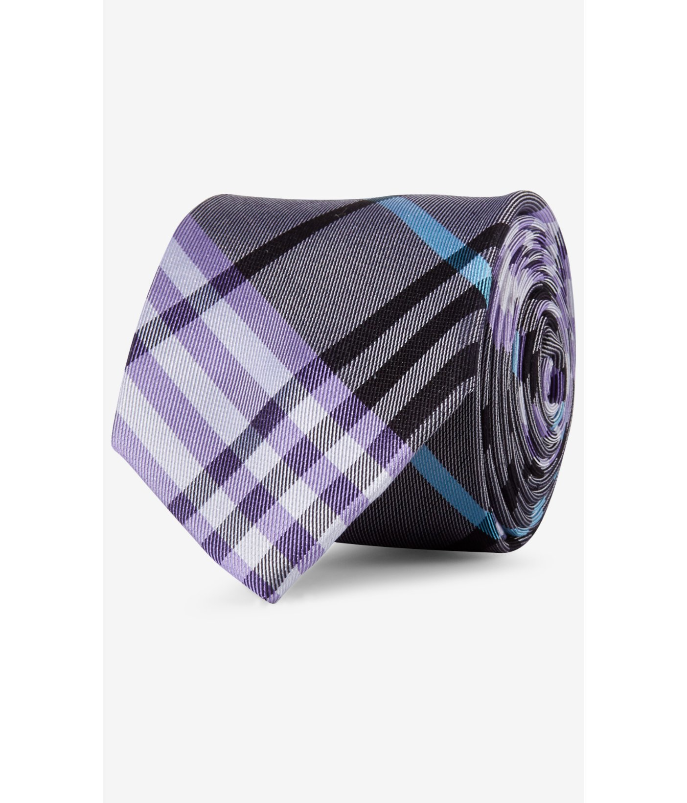 express narrow plaid silk tie gray in purple for lyst