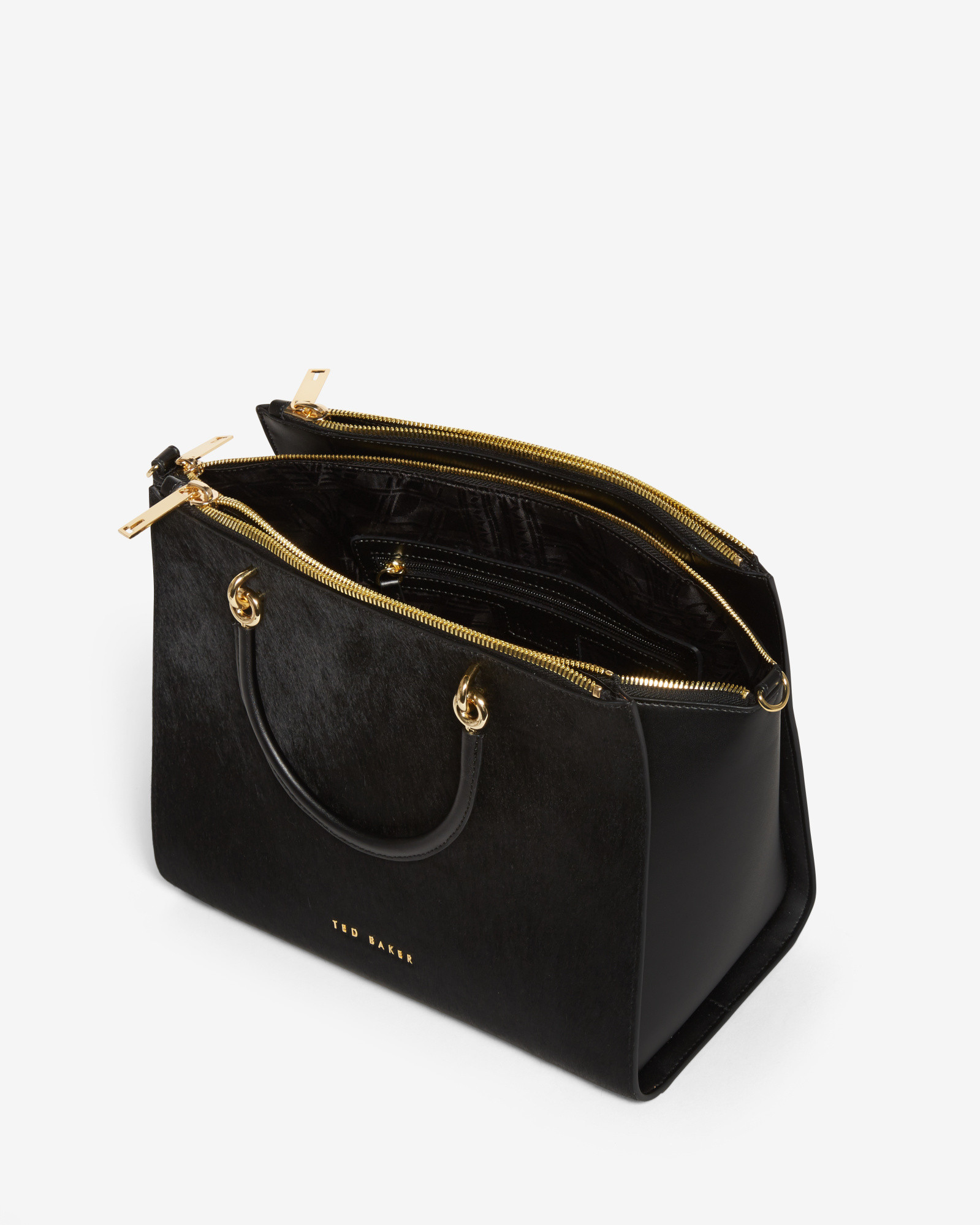 Ted baker Textured Leather Zip Tote Bag in Black | Lyst