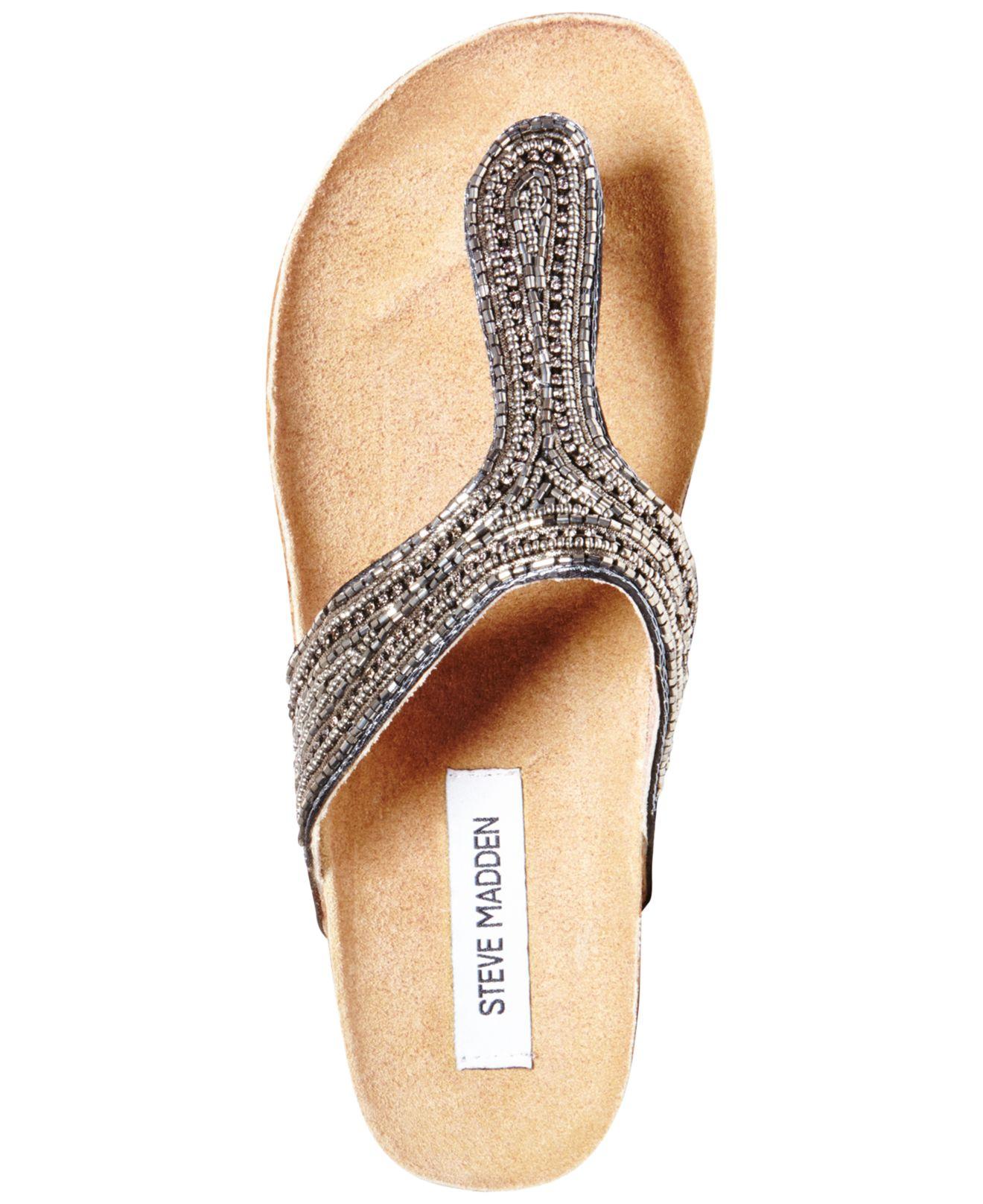 9385b1791250 Lyst - Steve Madden Radlee Rhinestone Footbed Flat Thong Sandals in Gray