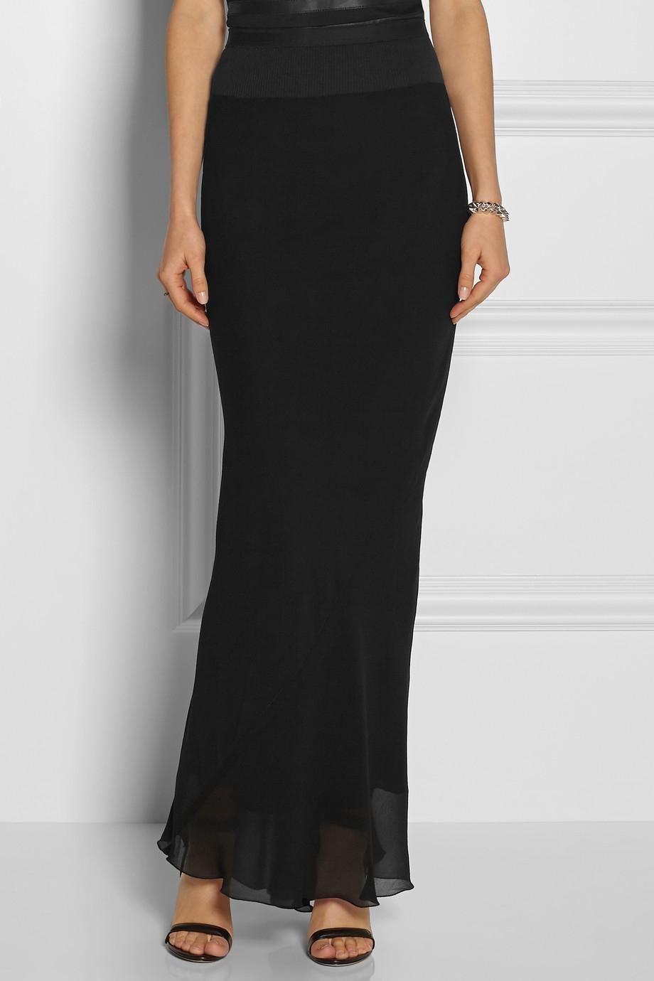 Rick owens Silk Georgette Maxi Skirt in Black | Lyst