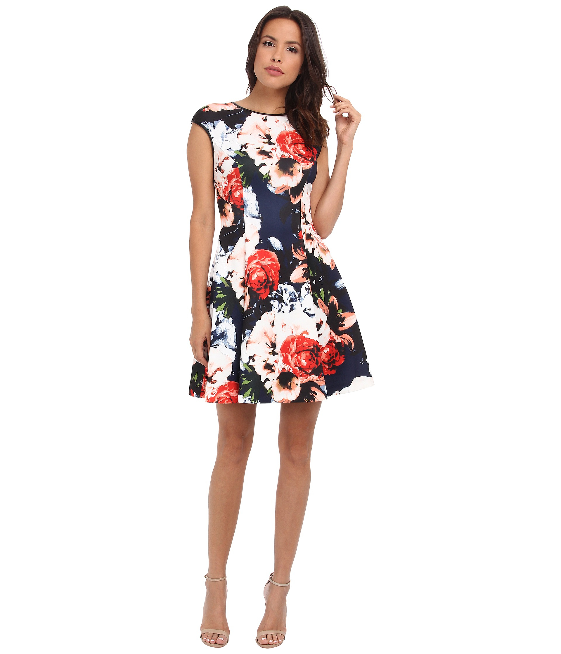 Vince Camuto Cap Sleeve Fit Amp Flare Dress W Faux Leather