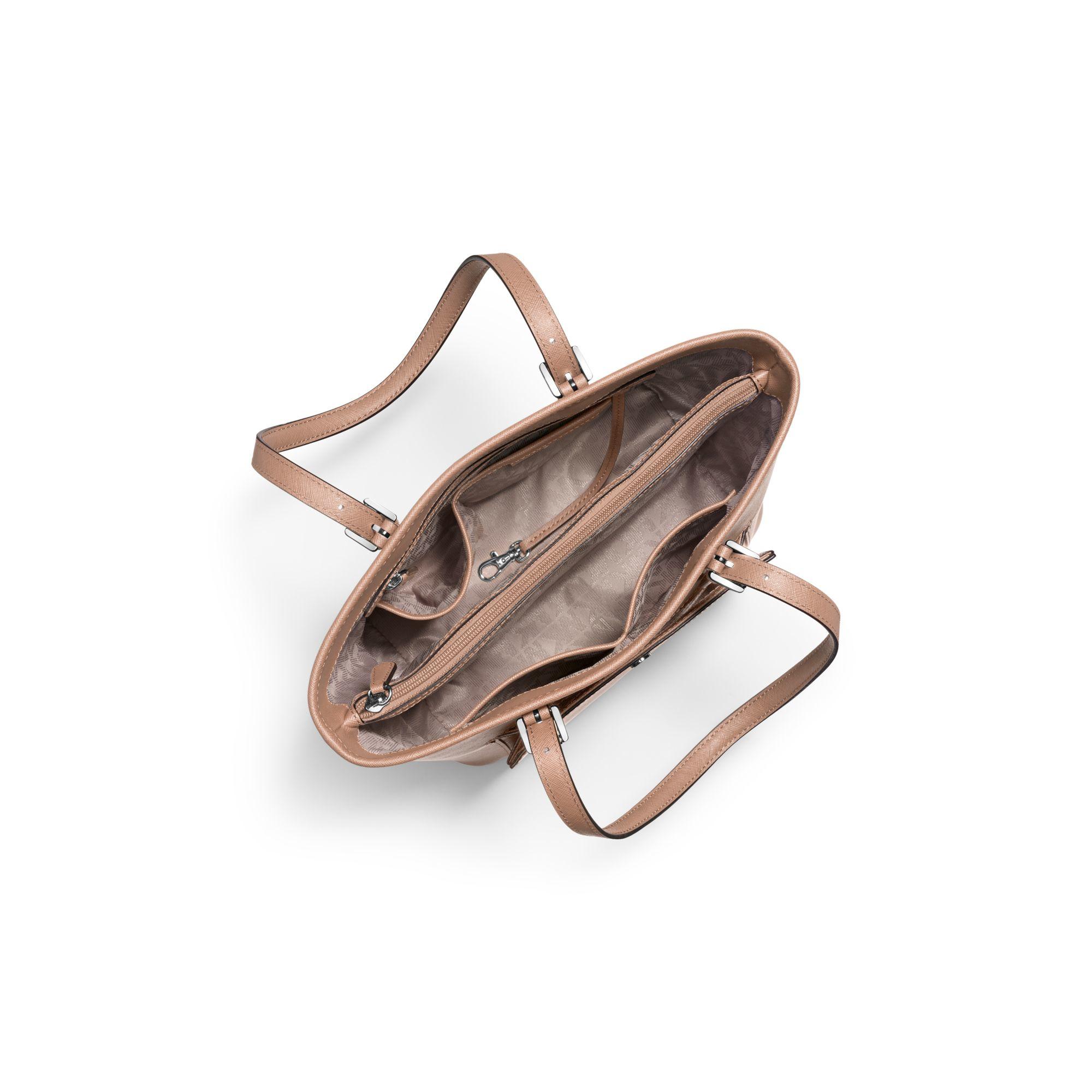 michael kors jet set medium saffiano leather tote in pink. Black Bedroom Furniture Sets. Home Design Ideas