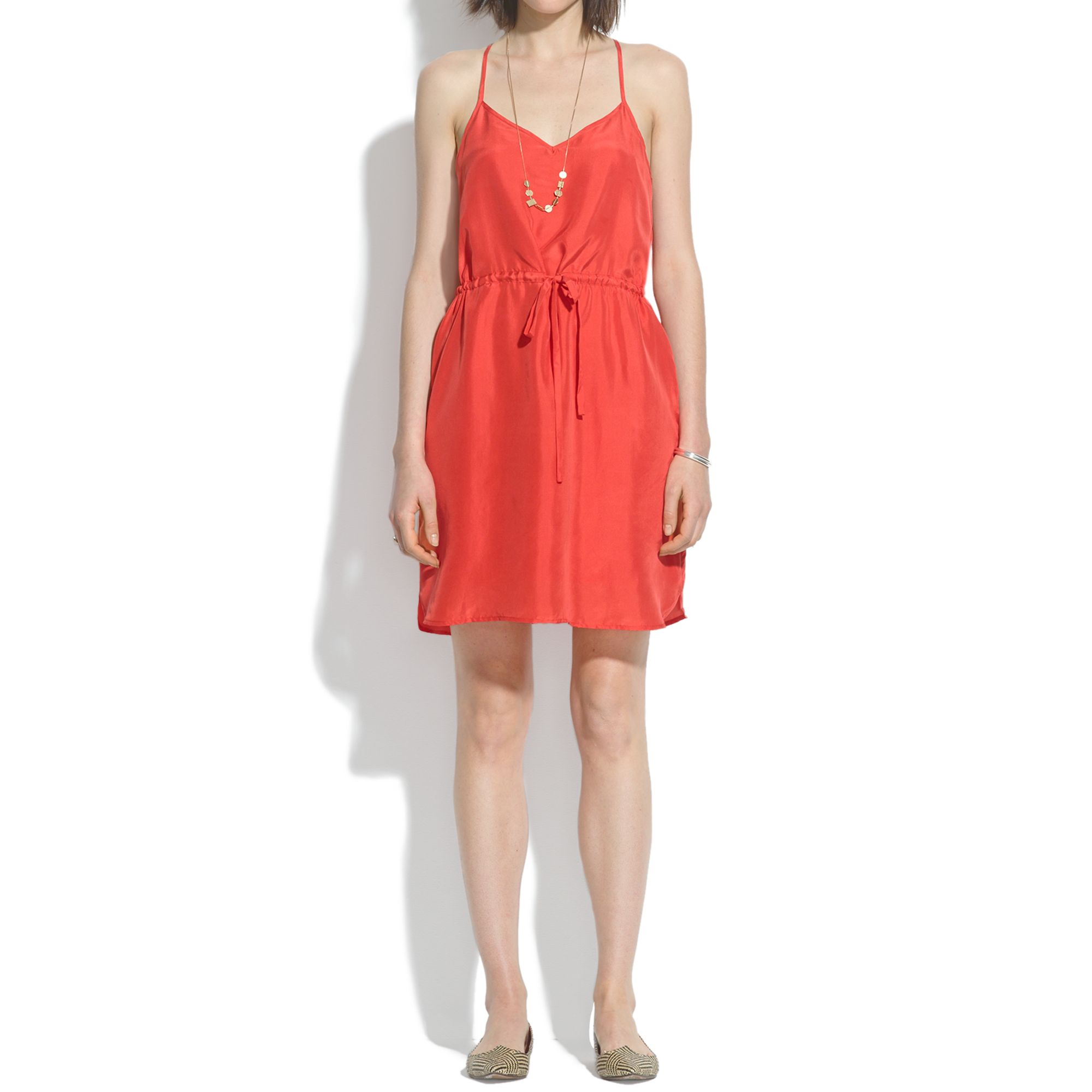 7893aea11ad Lyst - Madewell Silk Daybreak Sundress in Orange