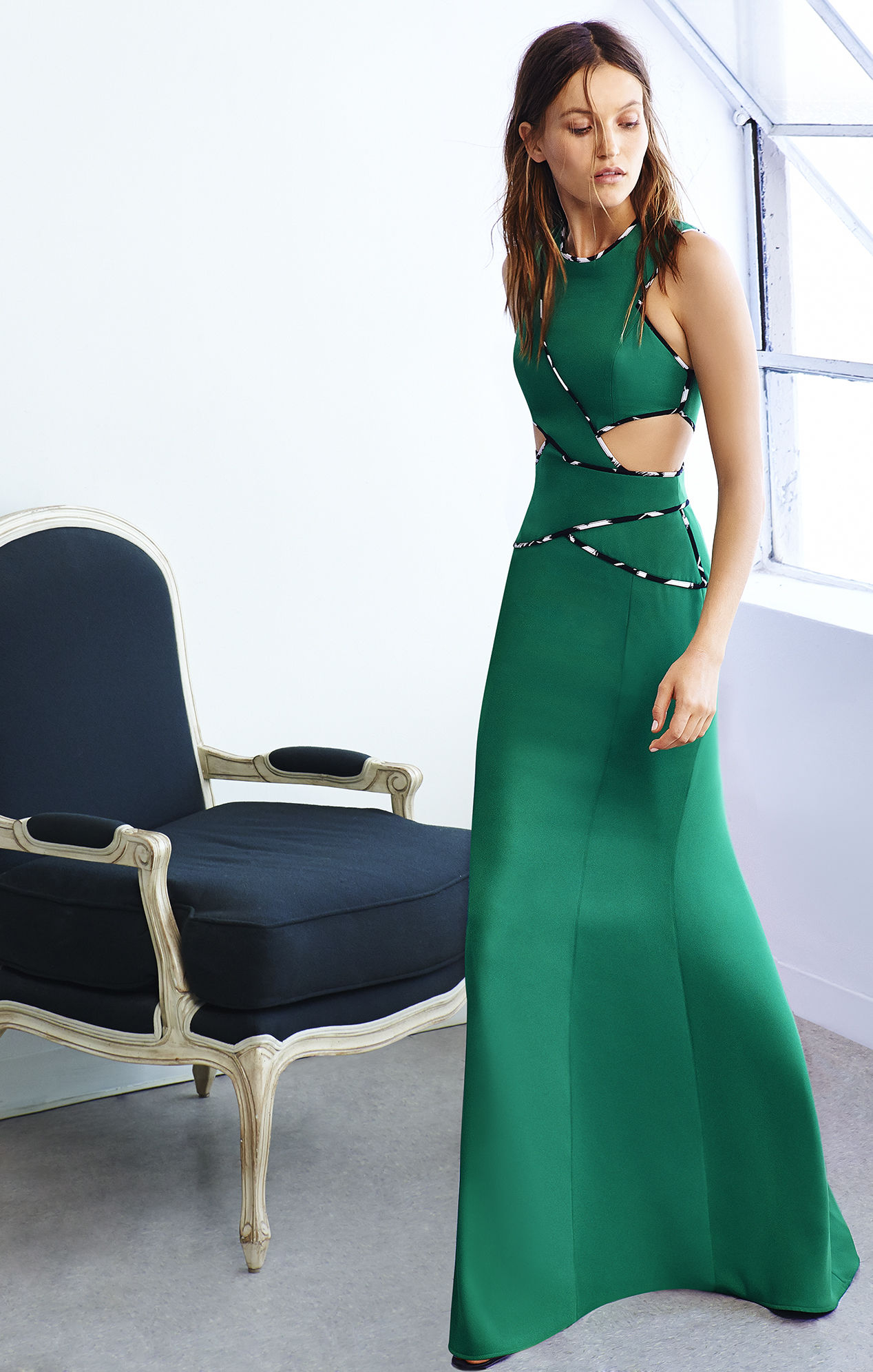 Lyst - Bcbgmaxazria Nikkole Sleeveless Side Cutout Gown in Green