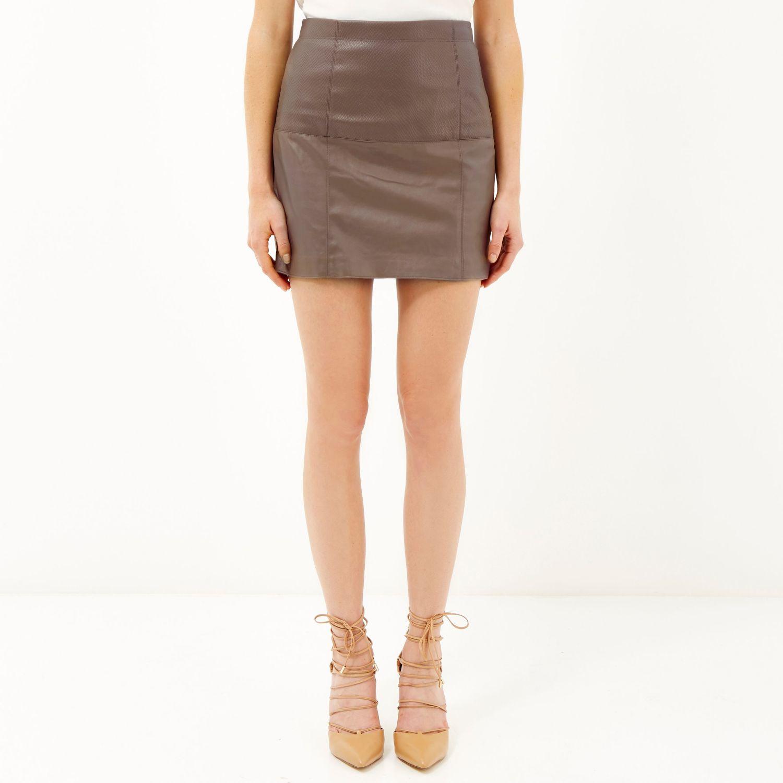 River island Brown Leather-look Pelmet Skirt in Brown | Lyst