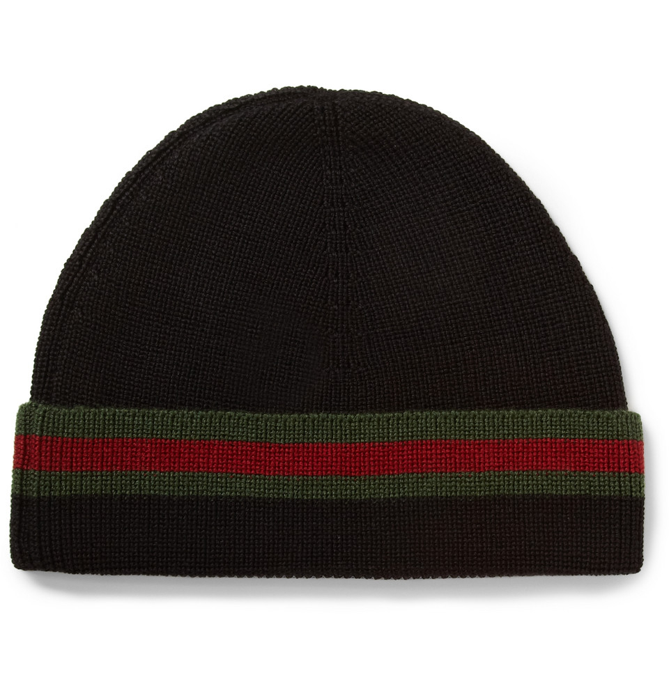 820f3f5b7bd Lyst - Gucci Striped Wool And Silk-Blend Beanie Hat in Black for Men