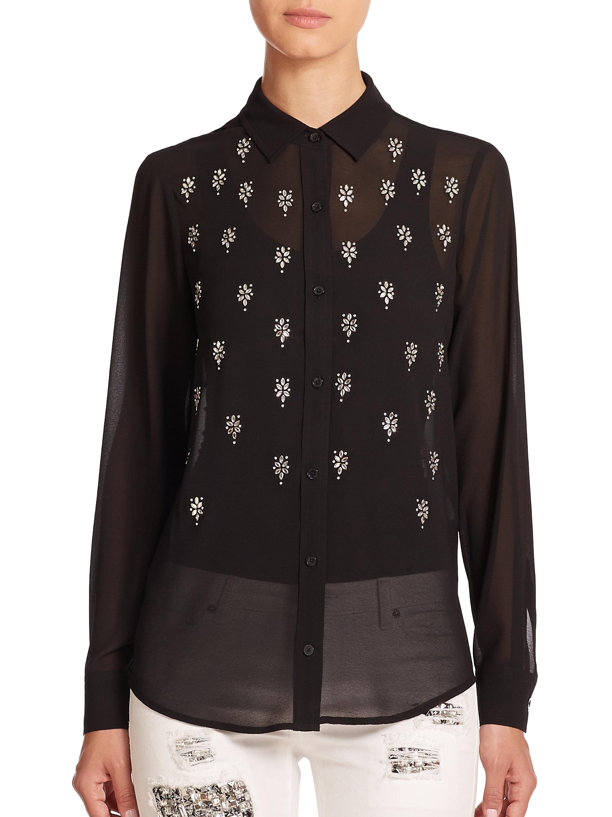 michael michael kors long sleeve embellished blouse in black lyst. Black Bedroom Furniture Sets. Home Design Ideas