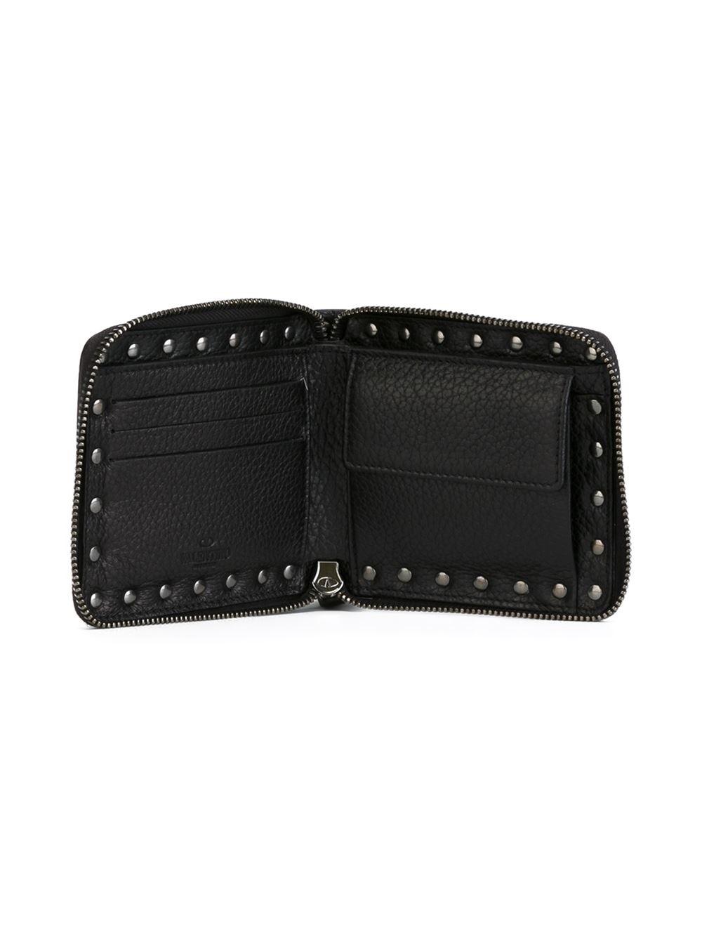Valentino 'rockstud' Wallet in Black for Men | Lyst
