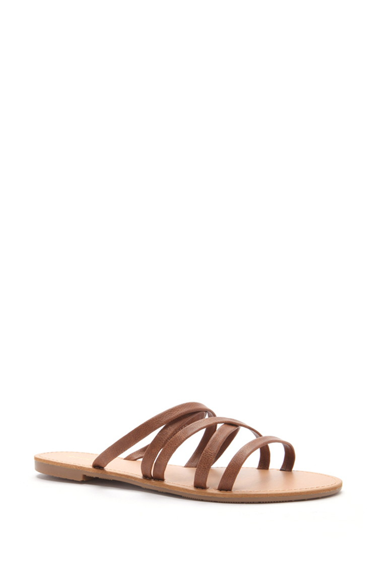 d93ab75600b Forever 21 Crisscross Faux Leather Sandals in Brown - Lyst