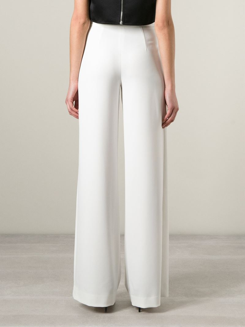 Halston High Waisted Wide Leg Trousers in White | Lyst