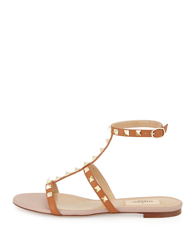 93fc58f770c Lyst - Valentino Rockstud Ankle-strap Flat Sandal in Natural