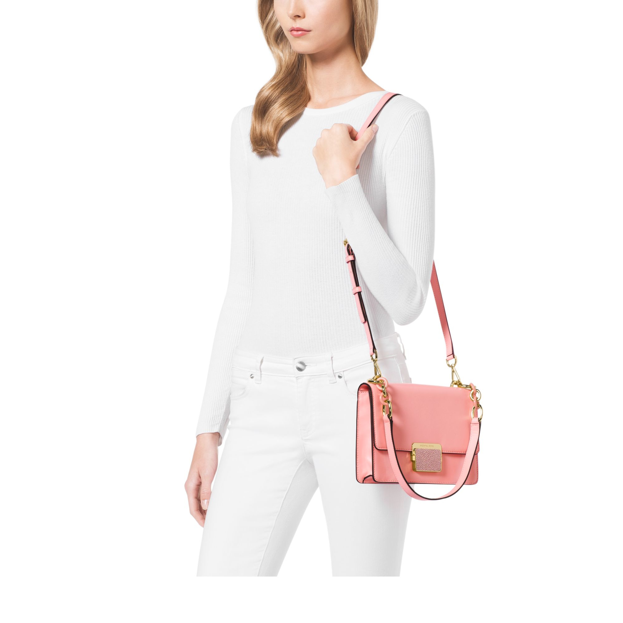 af88084aa6df Michael Kors Cynthia Small Leather Shoulder Bag in Pink - Lyst