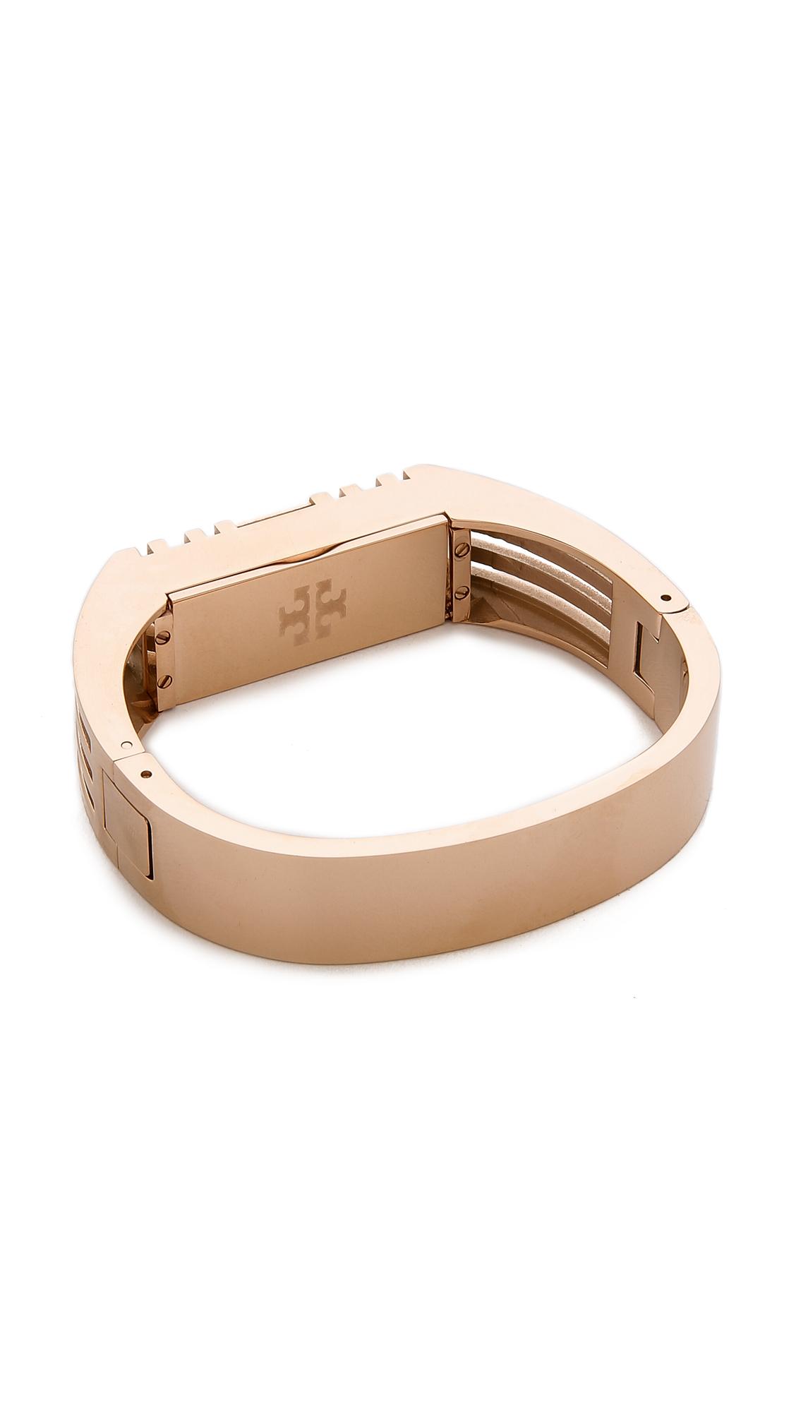 tory burch for fitbit metal hinged bracelet rose gold in pink lyst. Black Bedroom Furniture Sets. Home Design Ideas