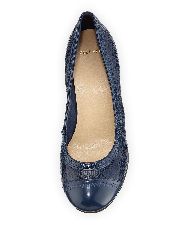 36b1e76e2e48 Lyst - Cole Haan Elsie Cap-toe Wedge Pump in Blue