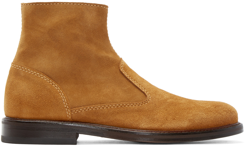 Carven Cognac Suede Boots In Brown For Men Lyst