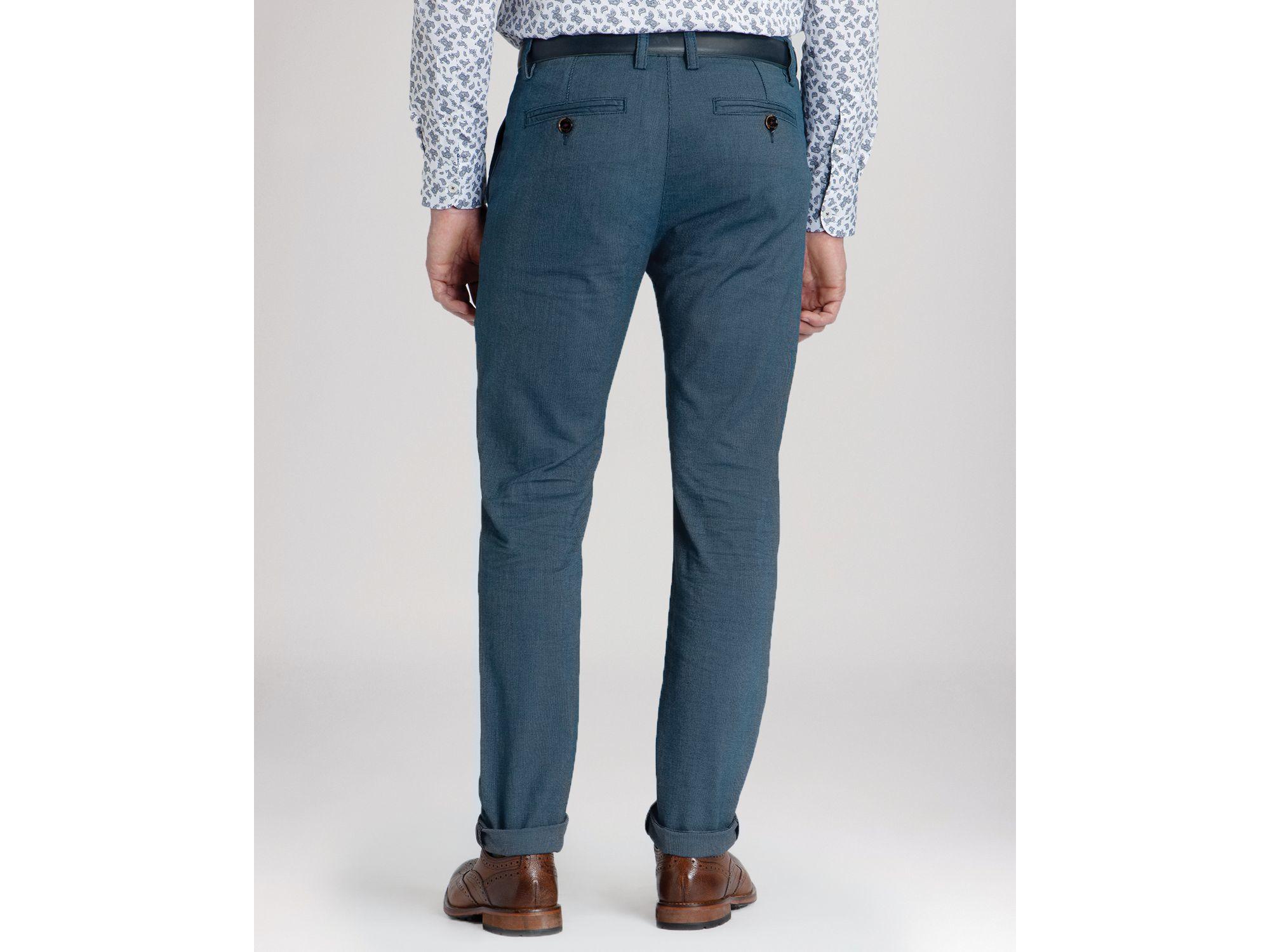 b723175353bb16 Lyst - Ted Baker Hollard Cotton Herringbone Trousers in Blue for Men