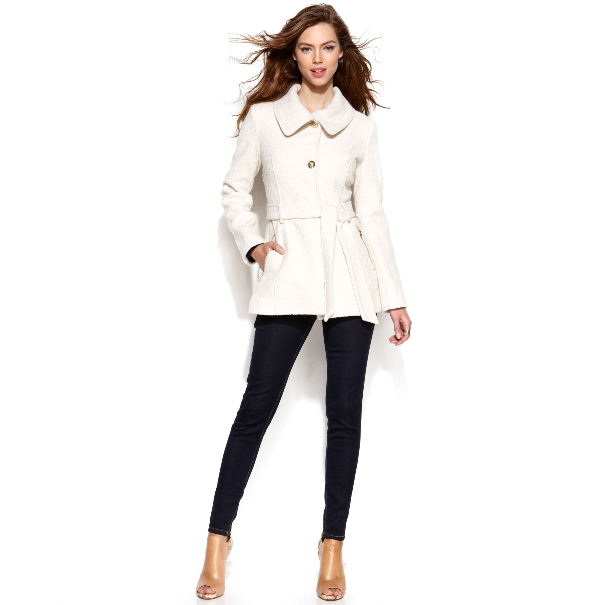 jessica simpson wool blend a line jacket in white ivory lyst