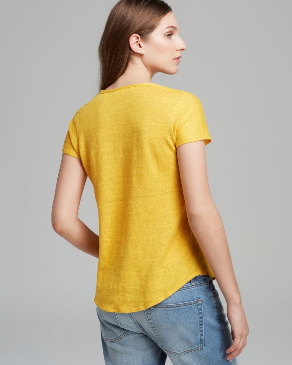 Lyst Eileen Fisher V Neck Short Sleeve Top In Yellow