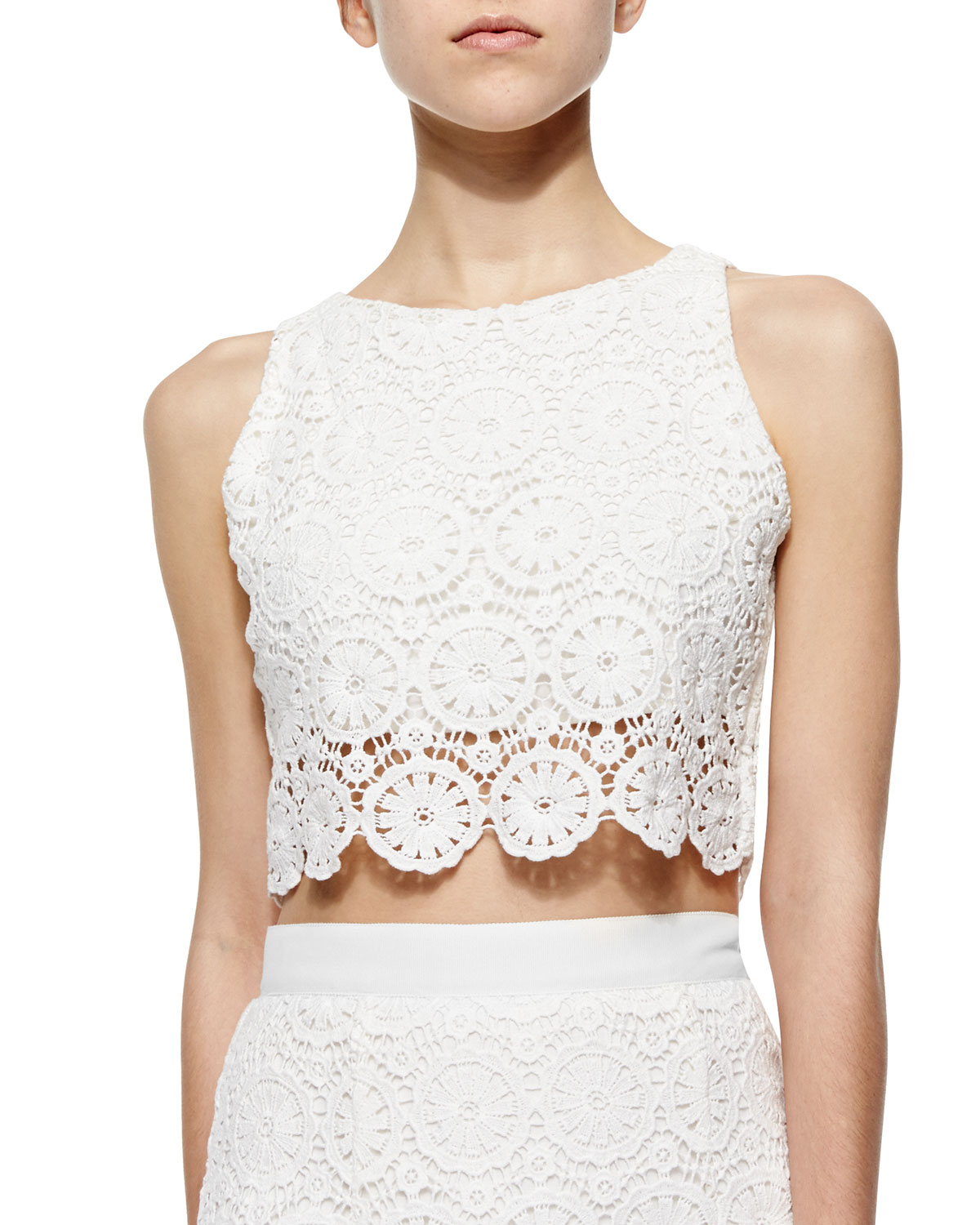 Lyst Miguelina Rosi Floral Lace Crop Top In White