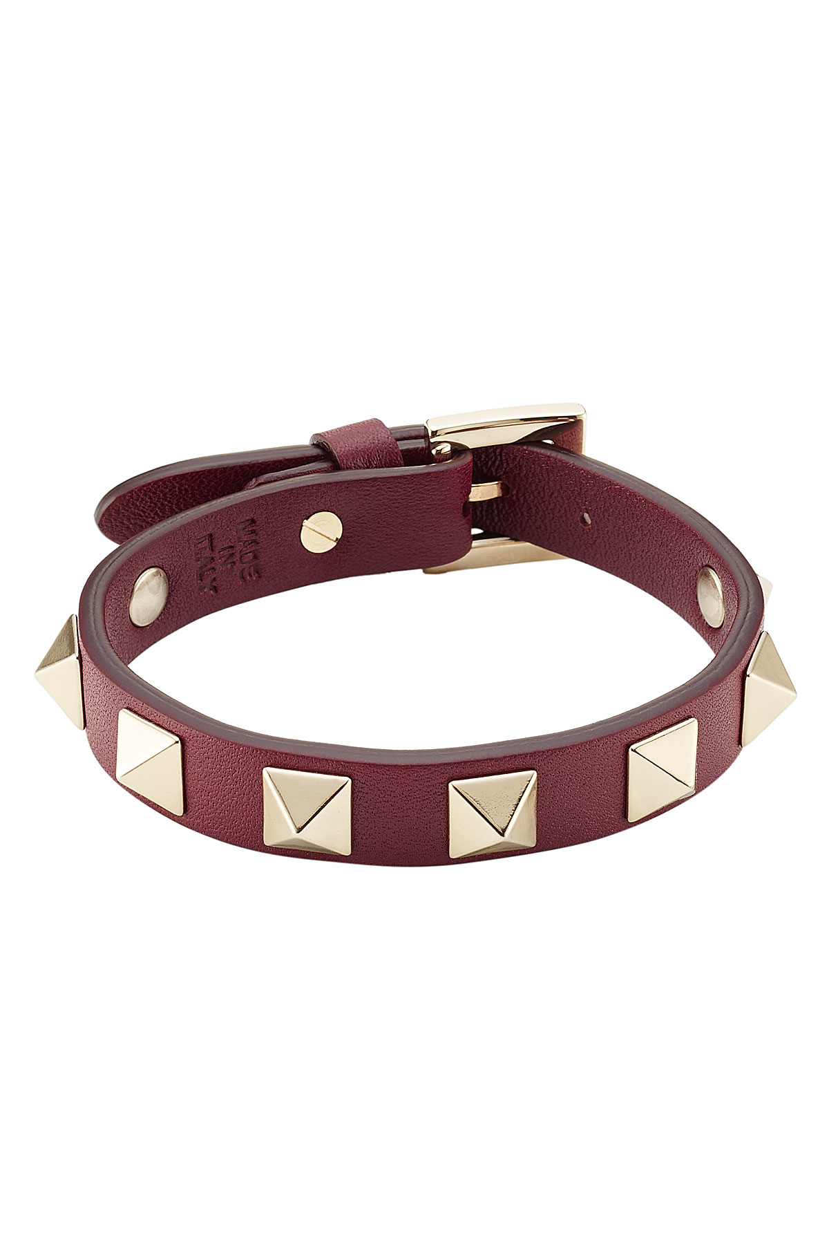 valentino small rockstud leather bracelet in lyst