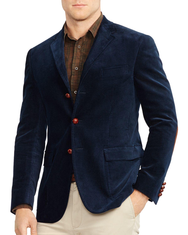 Ralph lauren Polo Harvard Suede-trim Sport Coat in Blue for Men | Lyst