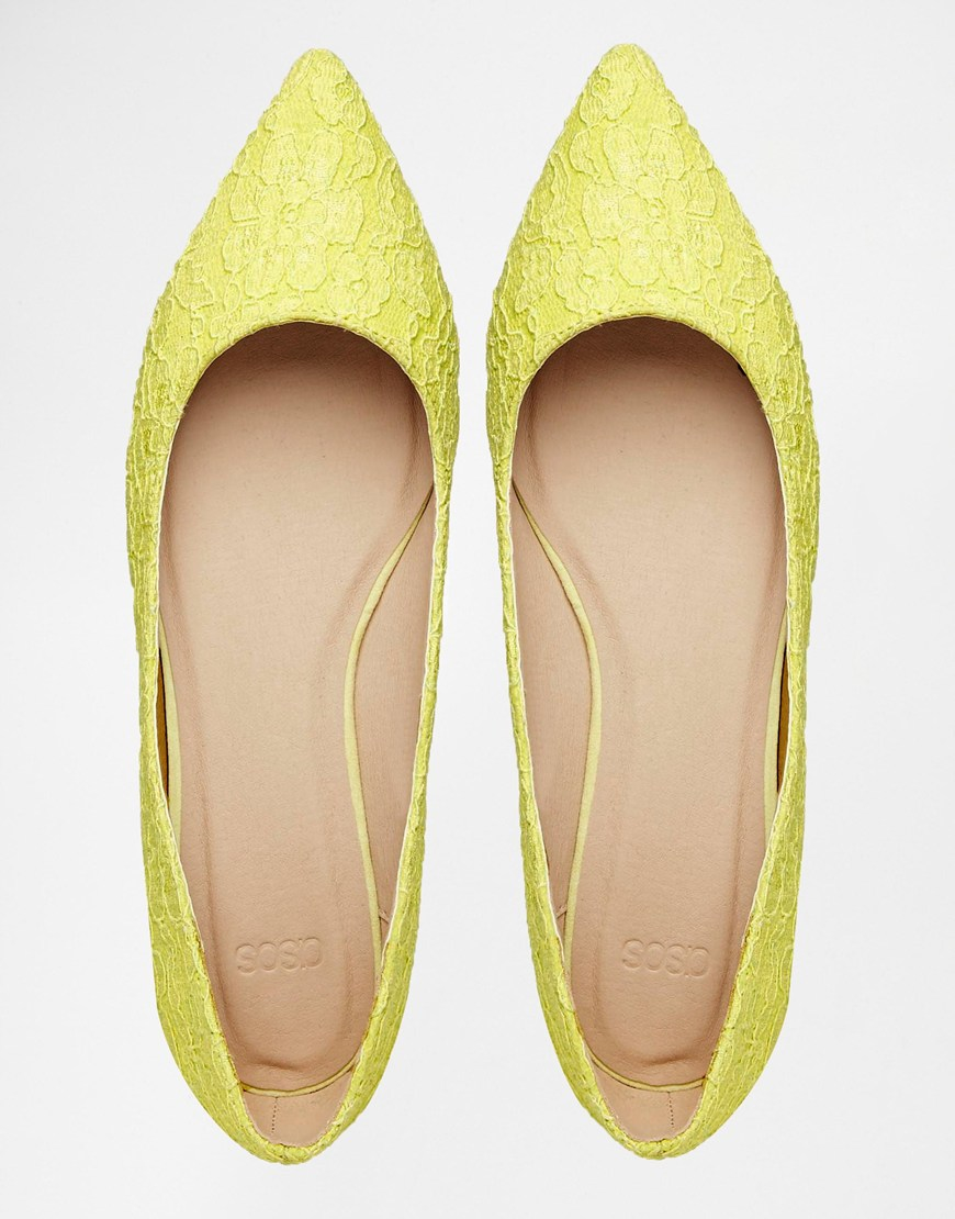 eb0b41d34 ASOS Lost Pointed Ballet Flats in Yellow - Lyst