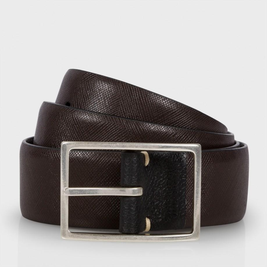 paul smith black and chocolate brown reversible leather