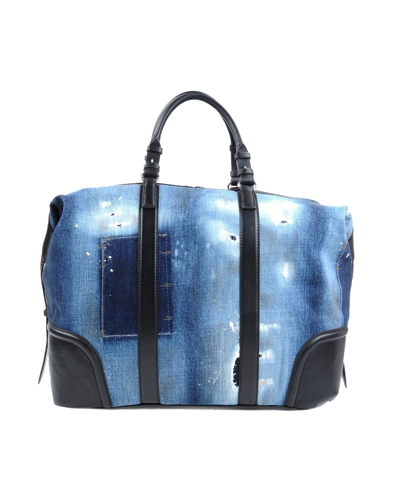 dsquared 178 leather denim duffel bag in blue for lyst