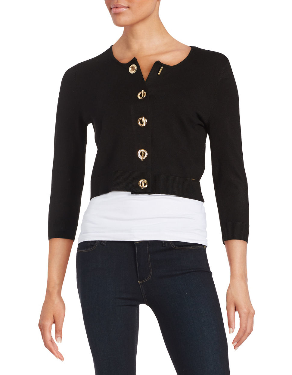 calvin klein knit toggle cardigan in black lyst. Black Bedroom Furniture Sets. Home Design Ideas