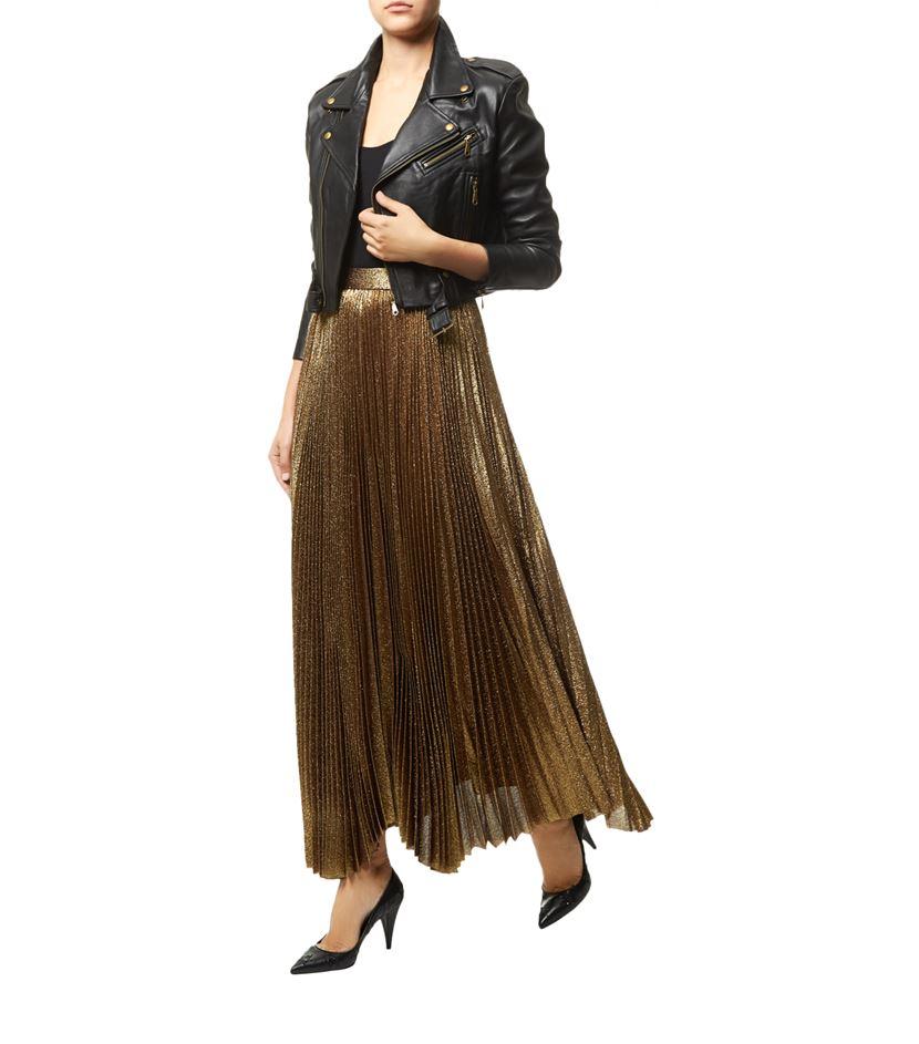 638d079f1 Alice + Olivia Katz Pleated Maxi Skirt in Metallic - Lyst