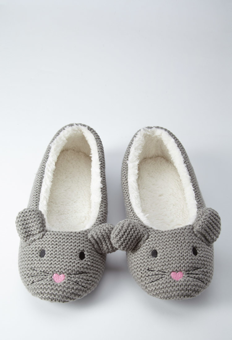 ad9cc7fb15a7 Lyst - Forever 21 Mouse Slippers in Gray